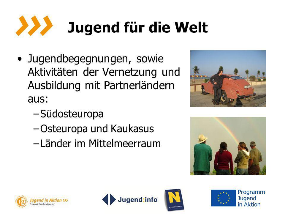 Jugend für die Welt Jugendbegegnungen, sowie Aktivitäten der Vernetzung und Ausbildung mit Partnerländern aus: