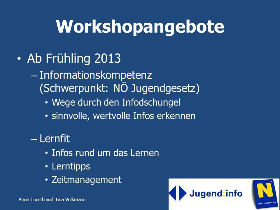Workshopangebote Ab Frühling 2013