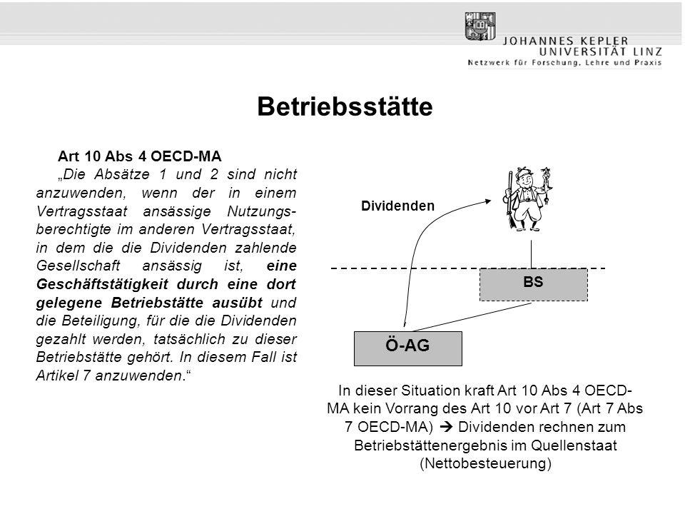 Betriebsstätte Ö-AG Art 10 Abs 4 OECD-MA