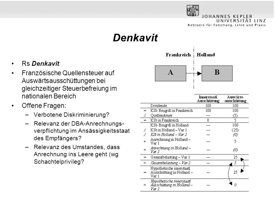 Denkavit Rs Denkavit. Französische Quellensteuer auf Auswärtsausschüttungen bei gleichzeitiger Steuerbefreiung im nationalen Bereich.