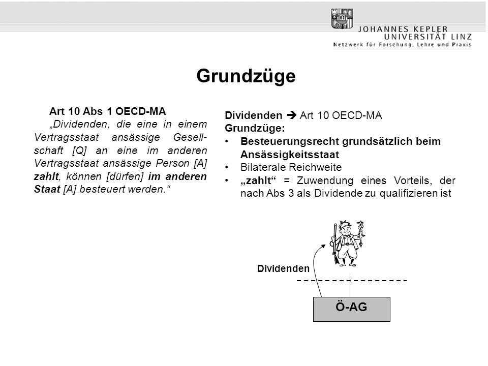 Grundzüge Ö-AG Art 10 Abs 1 OECD-MA Dividenden  Art 10 OECD-MA