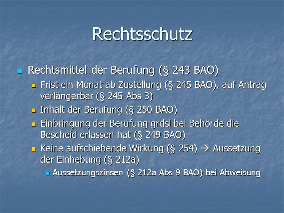 Rechtsschutz Rechtsmittel der Berufung (§ 243 BAO)