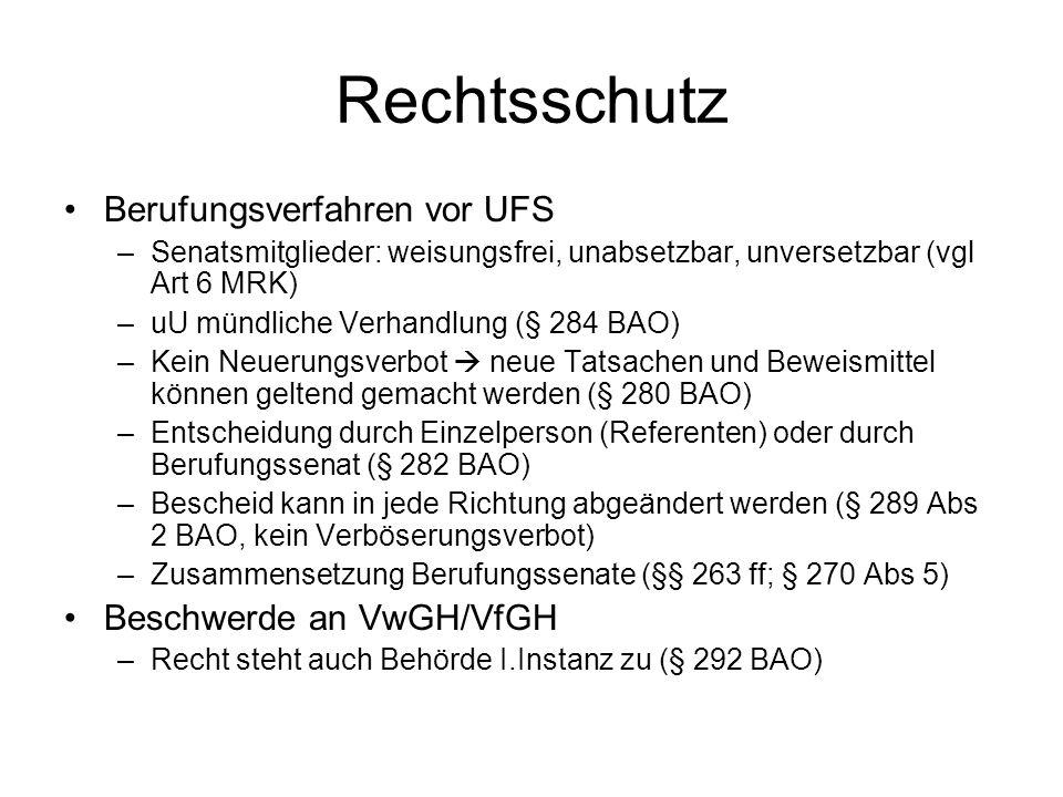 Rechtsschutz Berufungsverfahren vor UFS Beschwerde an VwGH/VfGH