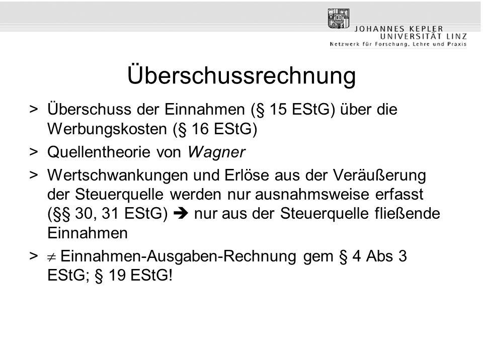 Überschussrechnung Überschuss der Einnahmen (§ 15 EStG) über die Werbungskosten (§ 16 EStG) Quellentheorie von Wagner.