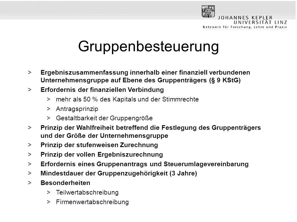 Gruppenbesteuerung Ergebniszusammenfassung innerhalb einer finanziell verbundenen Unternehmensgruppe auf Ebene des Gruppenträgers (§ 9 KStG)