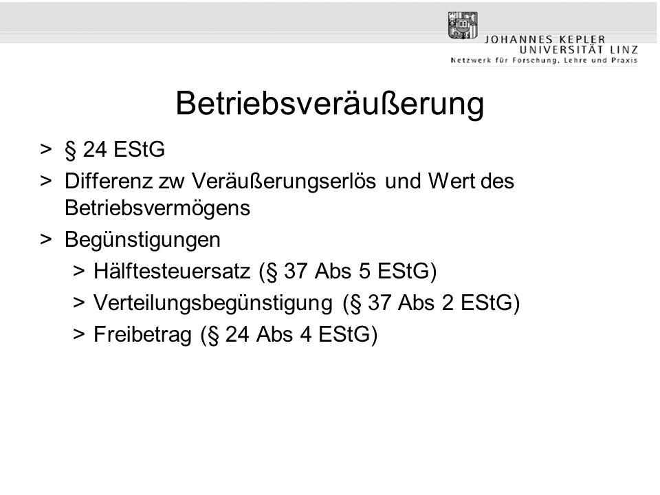 Betriebsveräußerung § 24 EStG