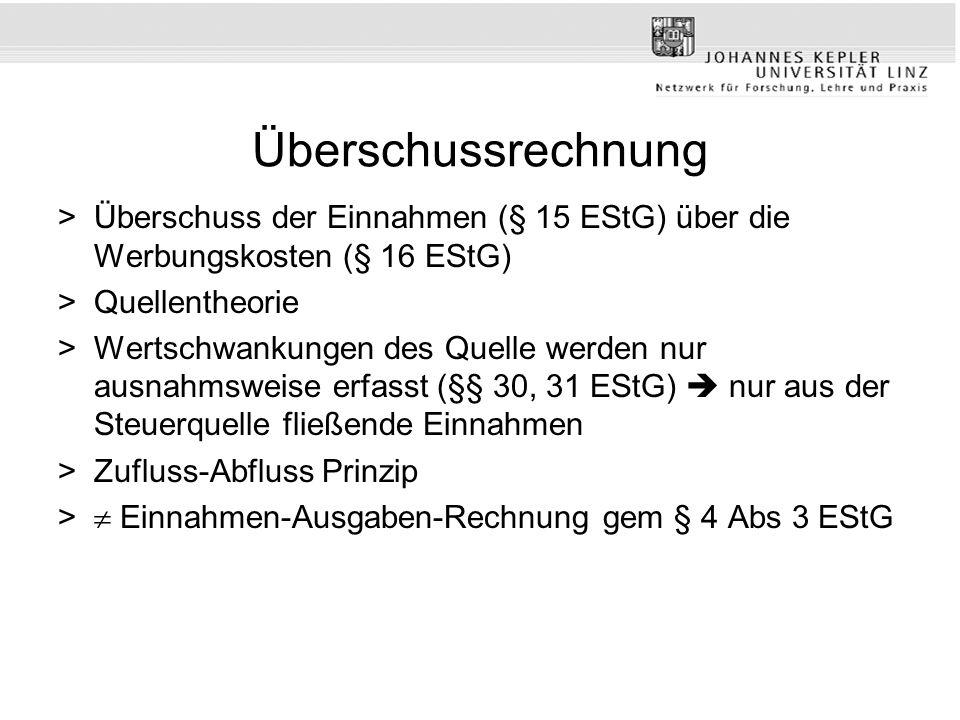 Überschussrechnung Überschuss der Einnahmen (§ 15 EStG) über die Werbungskosten (§ 16 EStG) Quellentheorie.