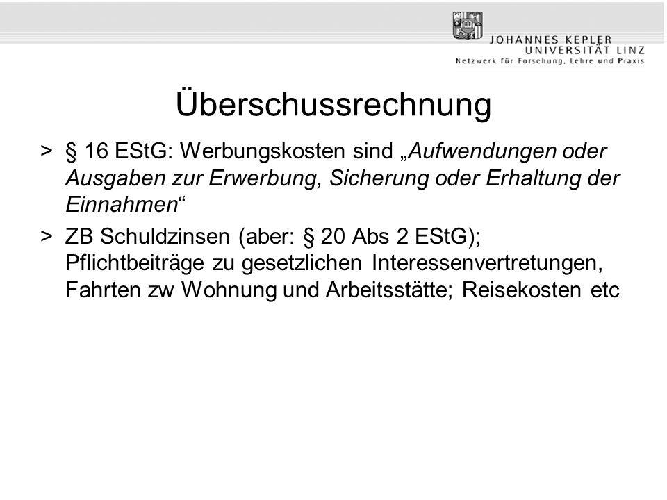 """Überschussrechnung § 16 EStG: Werbungskosten sind """"Aufwendungen oder Ausgaben zur Erwerbung, Sicherung oder Erhaltung der Einnahmen"""