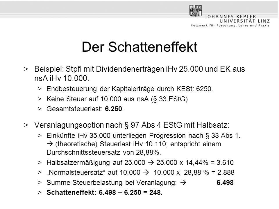 Der Schatteneffekt Beispiel: Stpfl mit Dividendenerträgen iHv 25.000 und EK aus nsA iHv 10.000. Endbesteuerung der Kapitalerträge durch KESt: 6250.