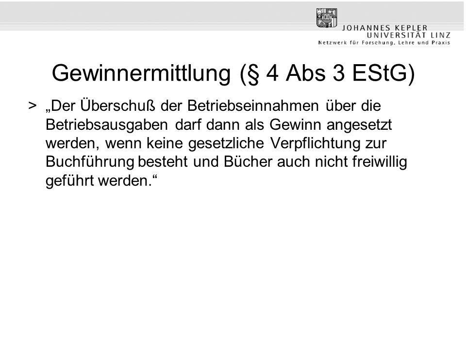 Gewinnermittlung (§ 4 Abs 3 EStG)