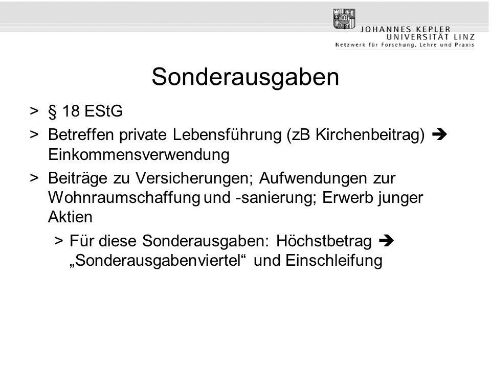 Sonderausgaben § 18 EStG. Betreffen private Lebensführung (zB Kirchenbeitrag)  Einkommensverwendung.