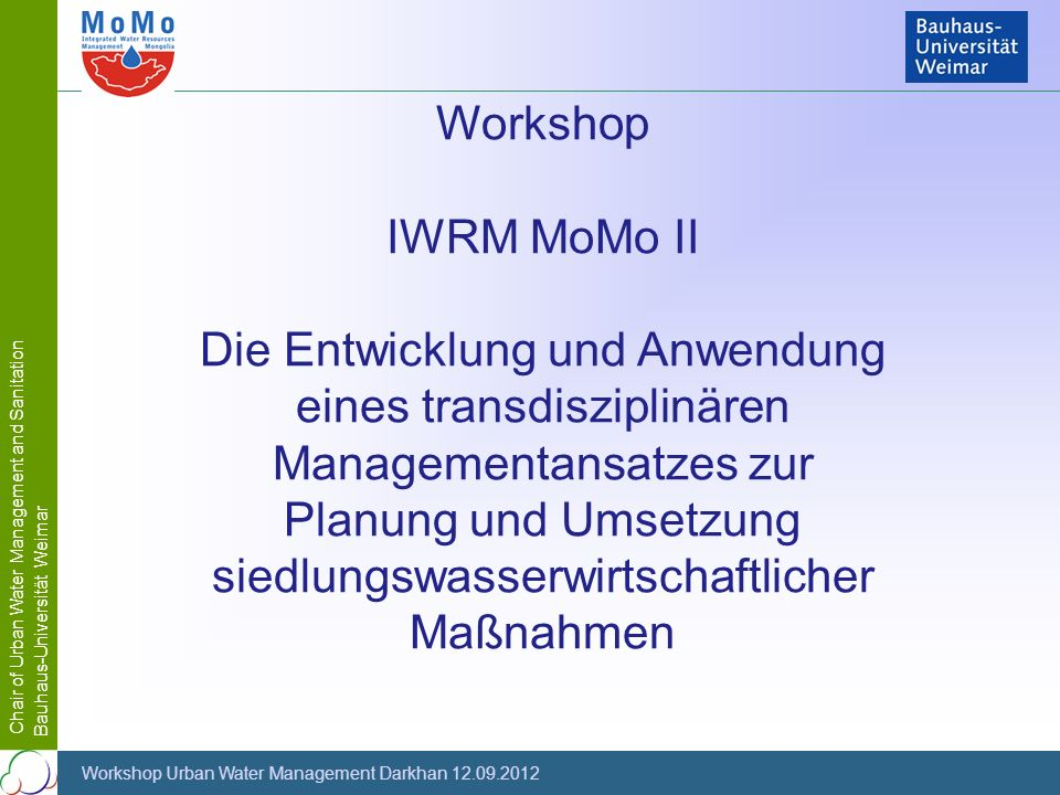 Workshop IWRM MoMo II.