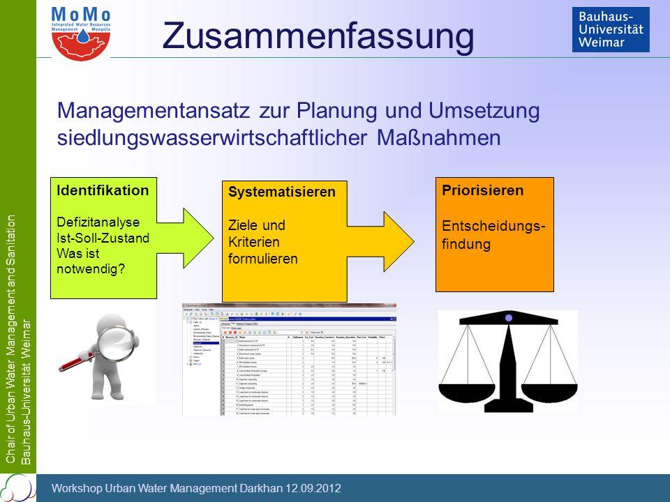 Zusammenfassung Managementansatz zur Planung und Umsetzung siedlungswasserwirtschaftlicher Maßnahmen.