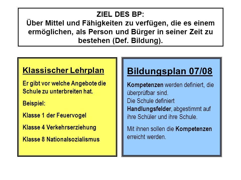 Bildungsplan 07/08 Klassischer Lehrplan