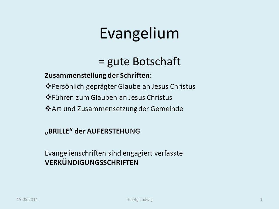 Evangelium = gute Botschaft Zusammenstellung der Schriften: