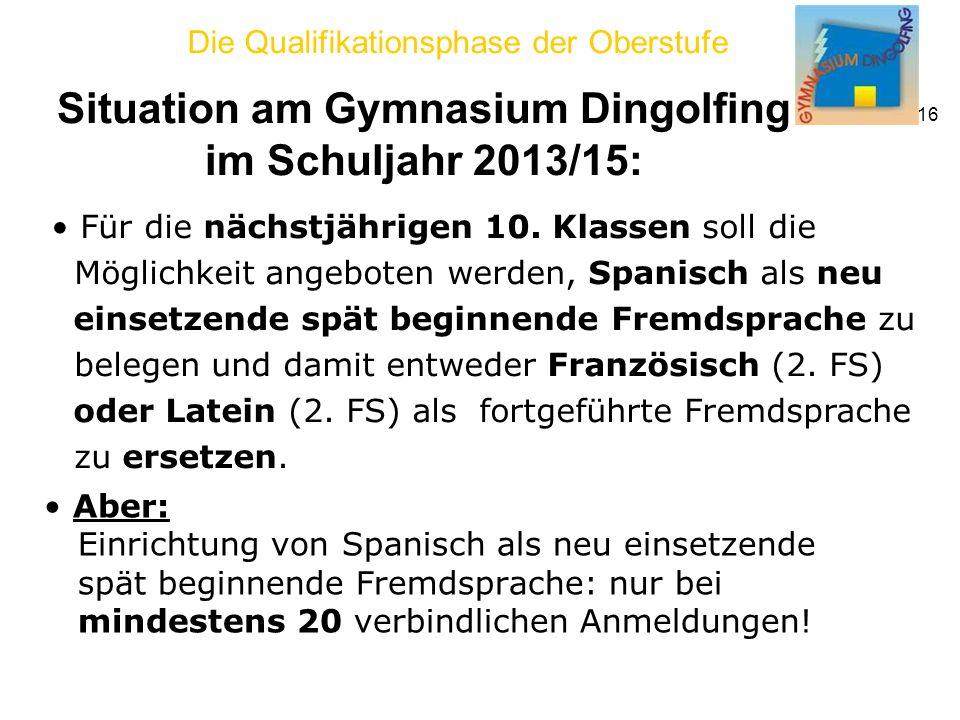 Situation am Gymnasium Dingolfing im Schuljahr 2013/15:
