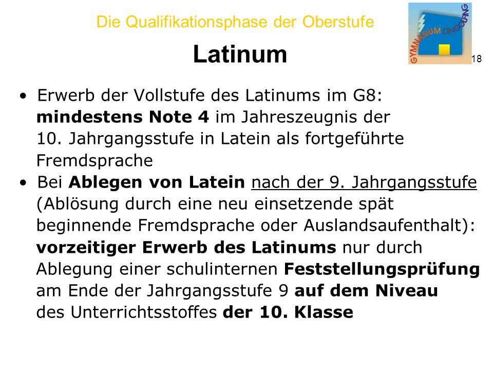 Latinum Erwerb der Vollstufe des Latinums im G8:
