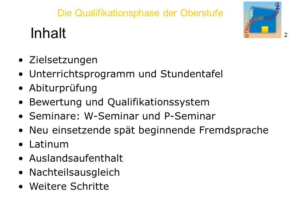 Inhalt Zielsetzungen Unterrichtsprogramm und Stundentafel