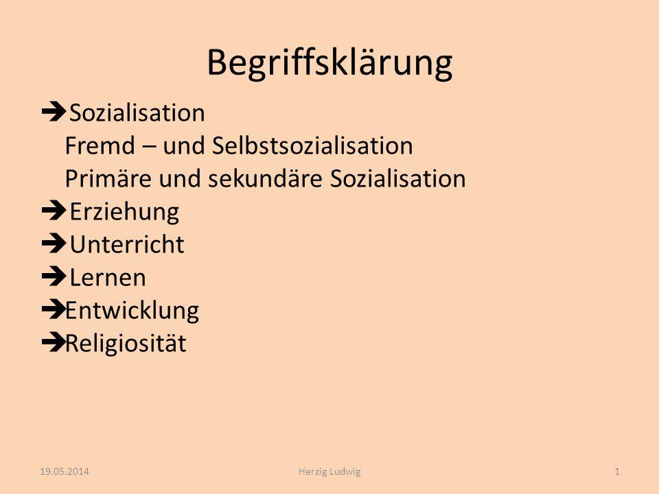Begriffsklärung Sozialisation Fremd – und Selbstsozialisation