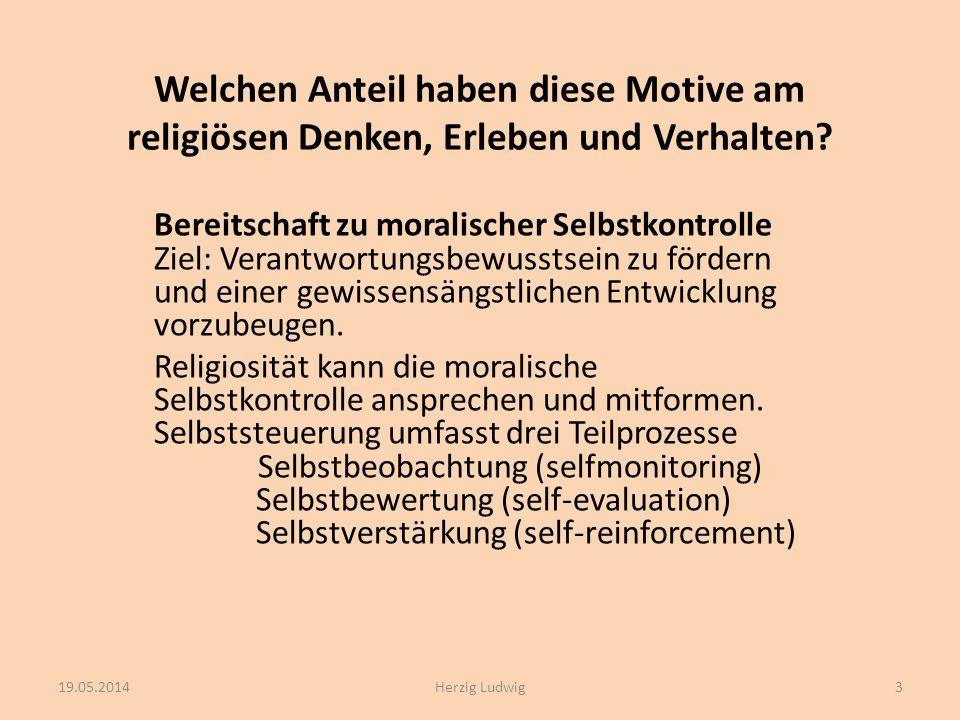 Welchen Anteil haben diese Motive am religiösen Denken, Erleben und Verhalten