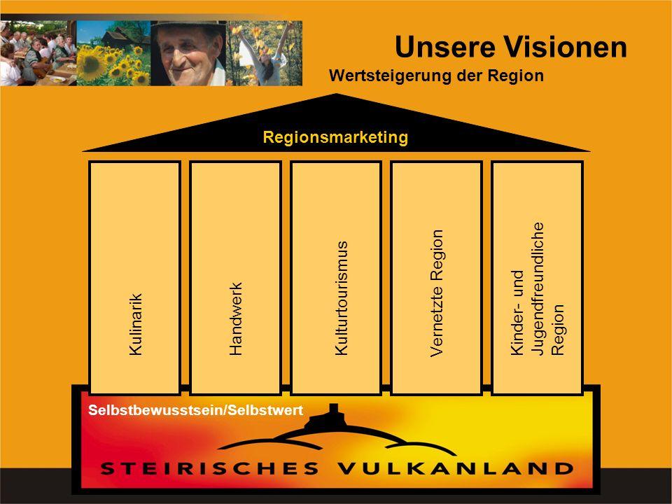 Unsere Visionen Wertsteigerung der Region Regionsmarketing