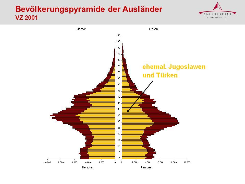 Bevölkerungspyramide der Ausländer VZ 2001
