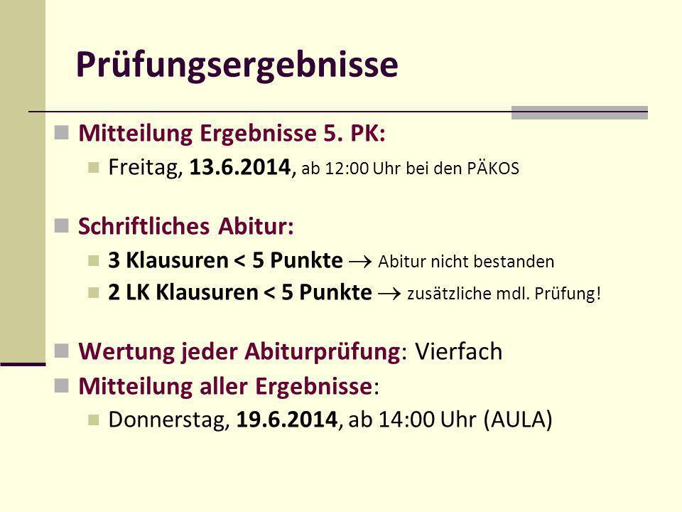 Prüfungsergebnisse Mitteilung Ergebnisse 5. PK: Schriftliches Abitur: