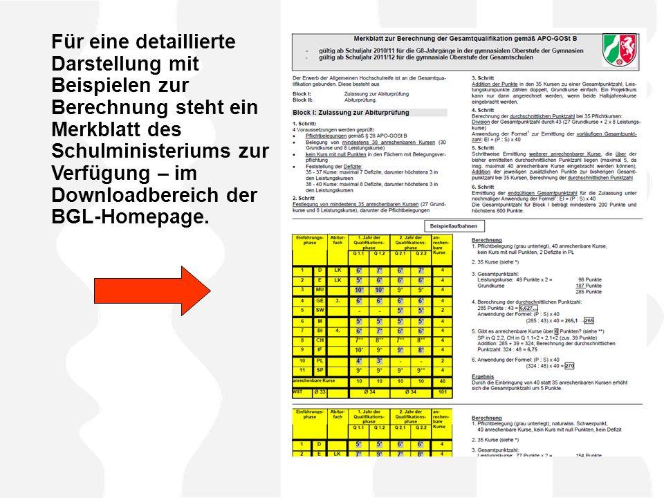 Für eine detaillierte Darstellung mit Beispielen zur Berechnung steht ein Merkblatt des Schulministeriums zur Verfügung – im Downloadbereich der BGL-Homepage.