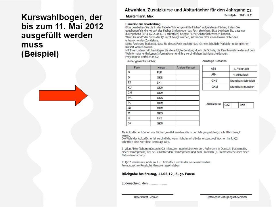 Kurswahlbogen, der bis zum 11. Mai 2012 ausgefüllt werden muss