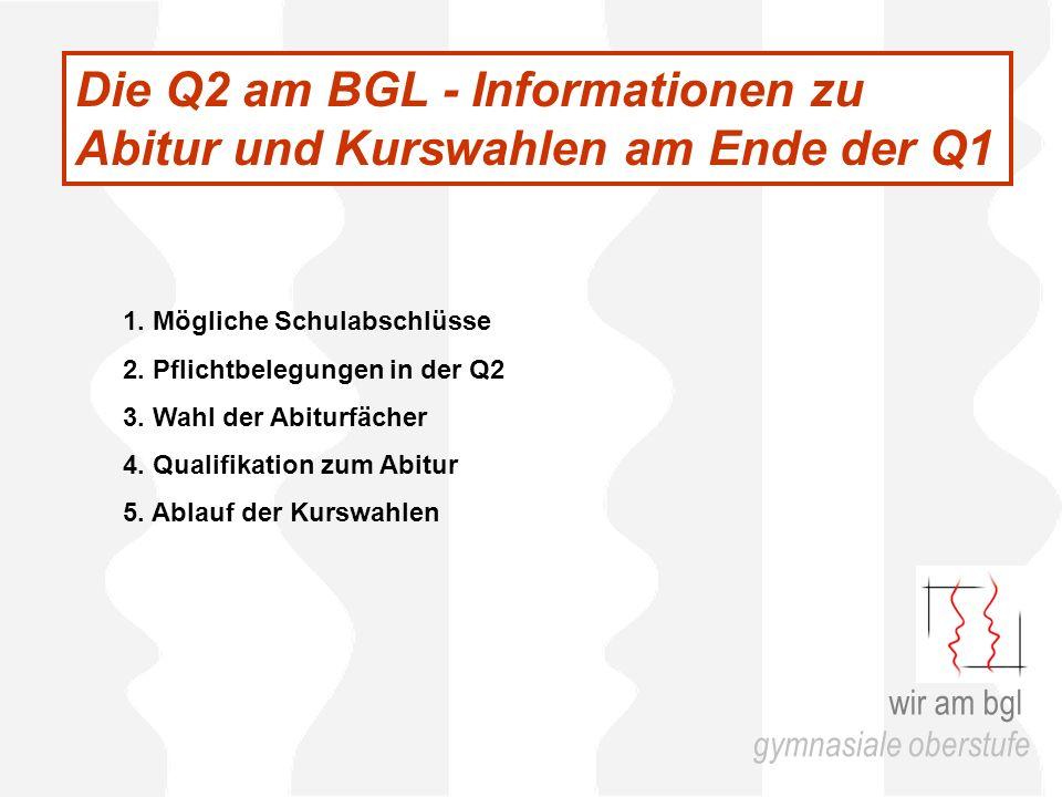 Die Q2 am BGL - Informationen zu Abitur und Kurswahlen am Ende der Q1