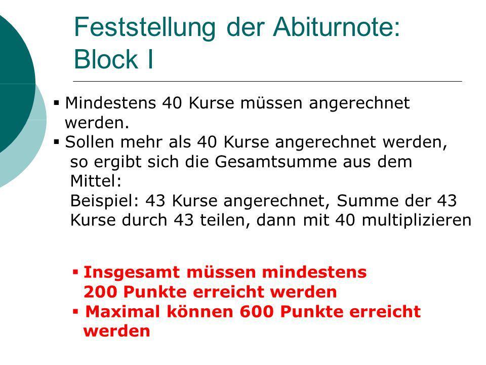 Feststellung der Abiturnote: Block I