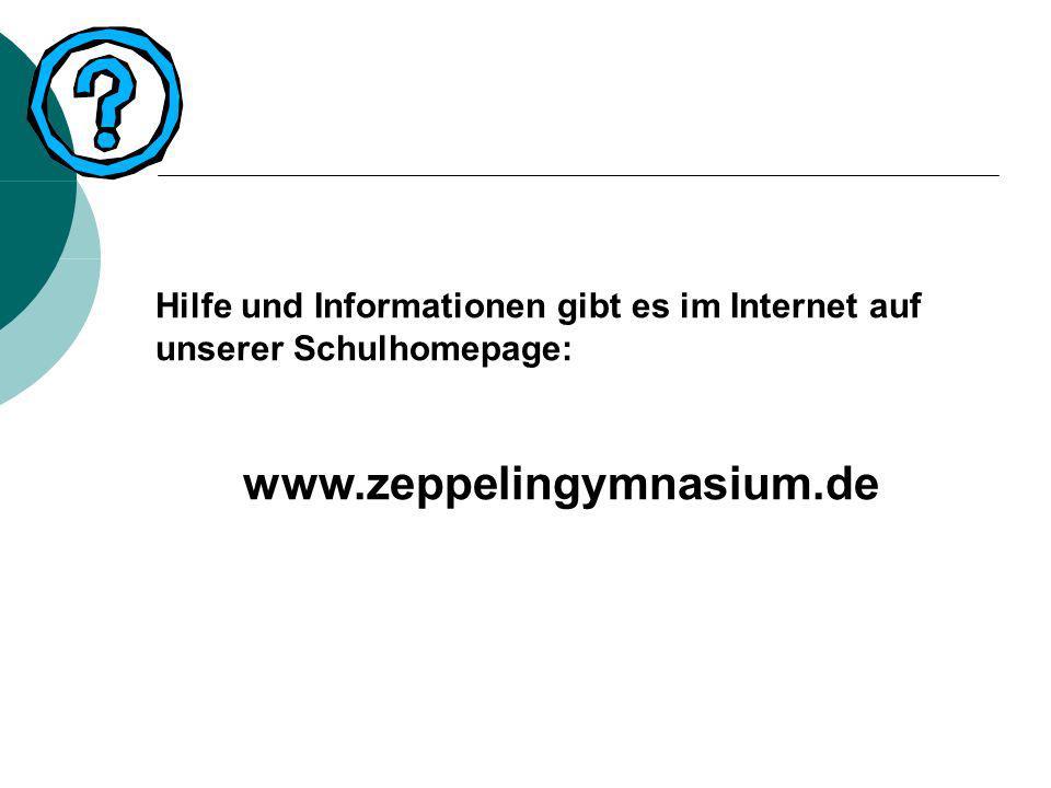 Hilfe und Informationen gibt es im Internet auf unserer Schulhomepage: