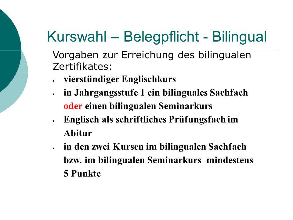 Kurswahl – Belegpflicht - Bilingual