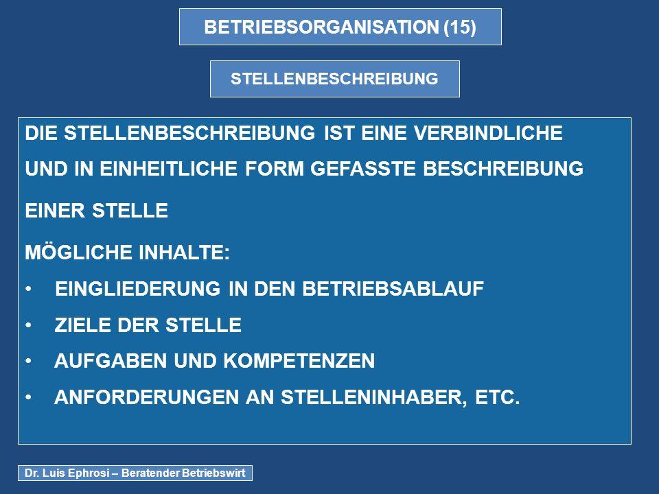 BETRIEBSORGANISATION (15)