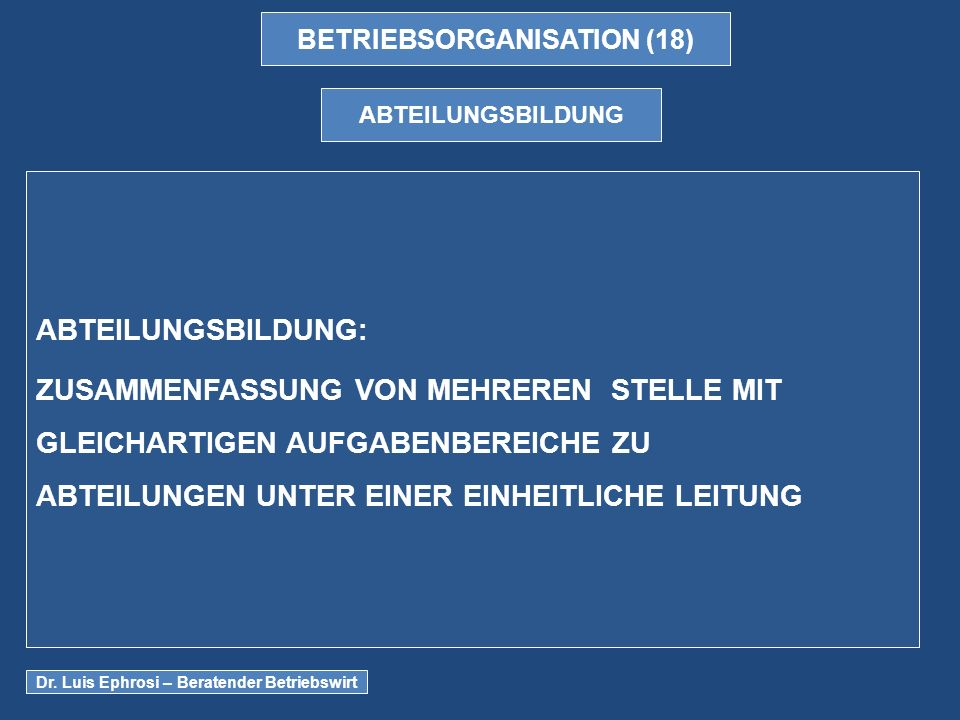 BETRIEBSORGANISATION (18)