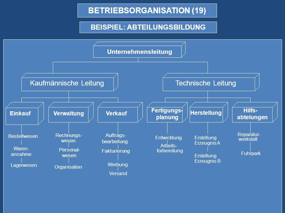 BETRIEBSORGANISATION (19) BEISPIEL: ABTEILUNGSBILDUNG