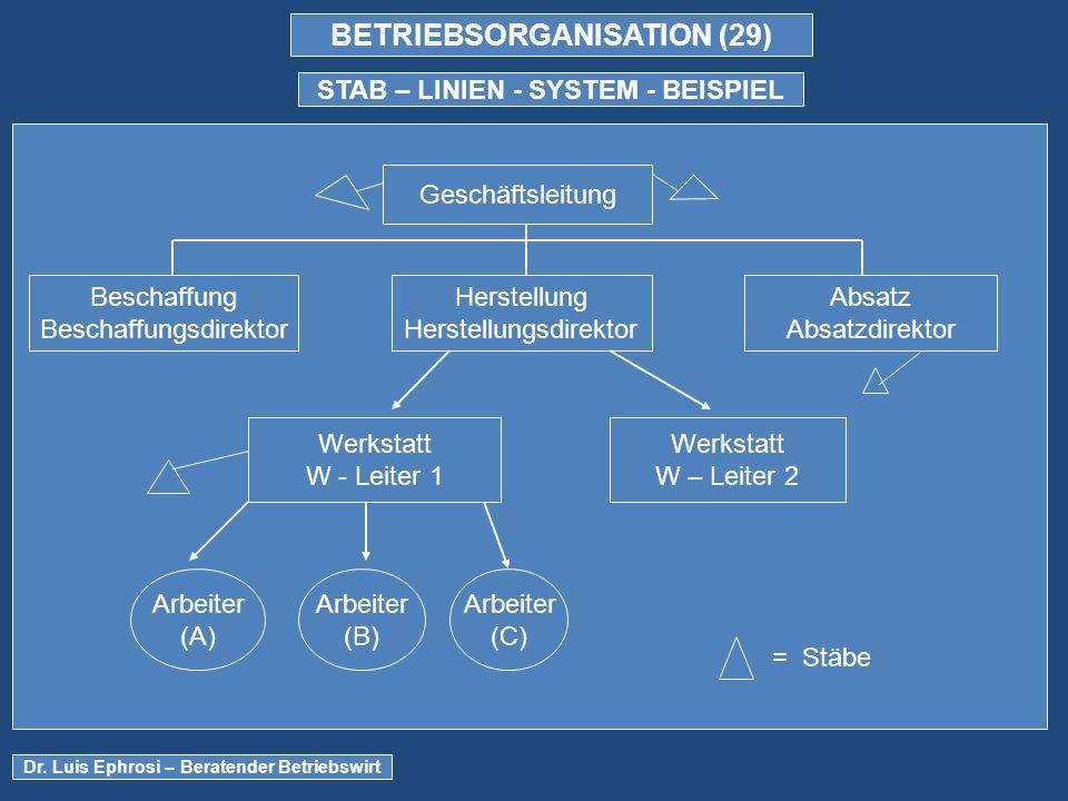 BETRIEBSORGANISATION (29) STAB – LINIEN - SYSTEM - BEISPIEL