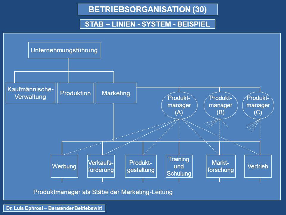 BETRIEBSORGANISATION (30) STAB – LINIEN - SYSTEM - BEISPIEL