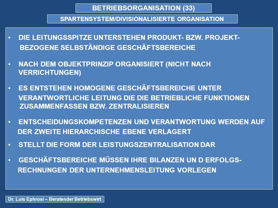BETRIEBSORGANISATION (33) SPARTENSYSTEM/DIVISIONALISIERTE ORGANISATION