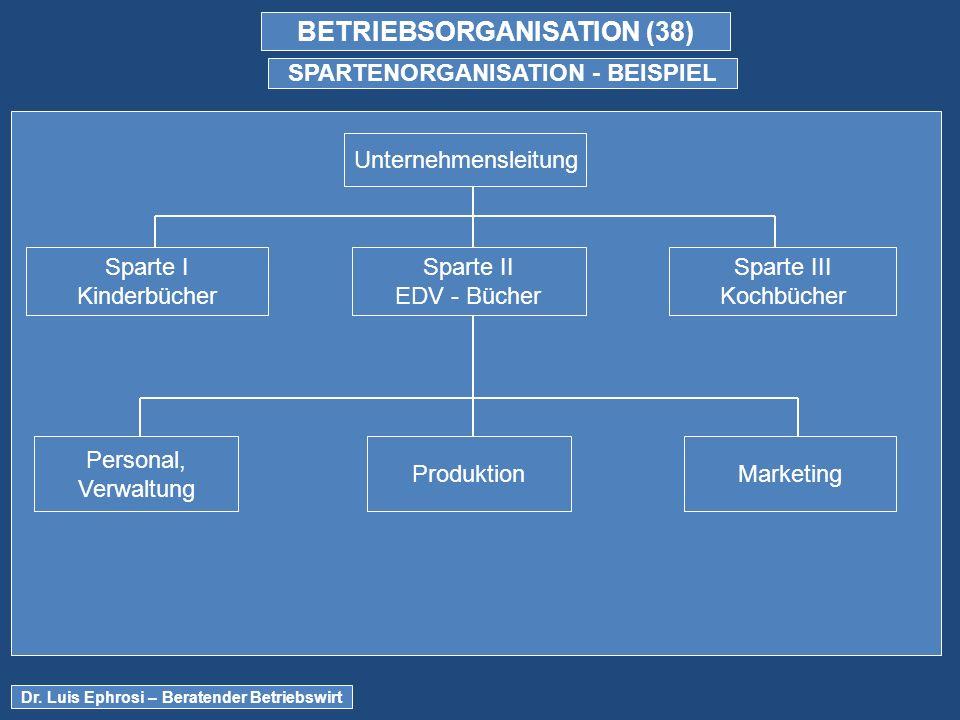 BETRIEBSORGANISATION (38) SPARTENORGANISATION - BEISPIEL