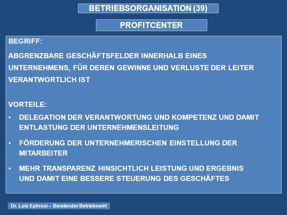 BETRIEBSORGANISATION (39)