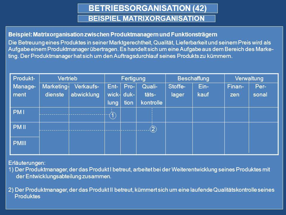 BETRIEBSORGANISATION (42) BEISPIEL MATRIXORGANISATION