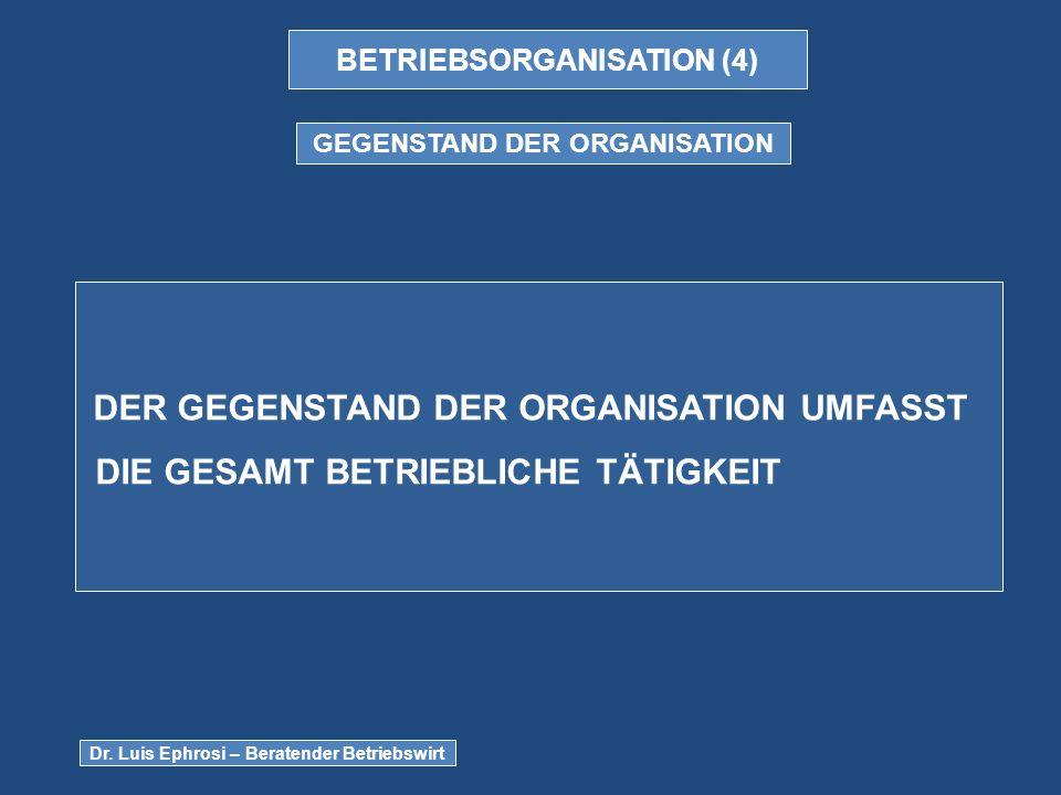 BETRIEBSORGANISATION (4) GEGENSTAND DER ORGANISATION