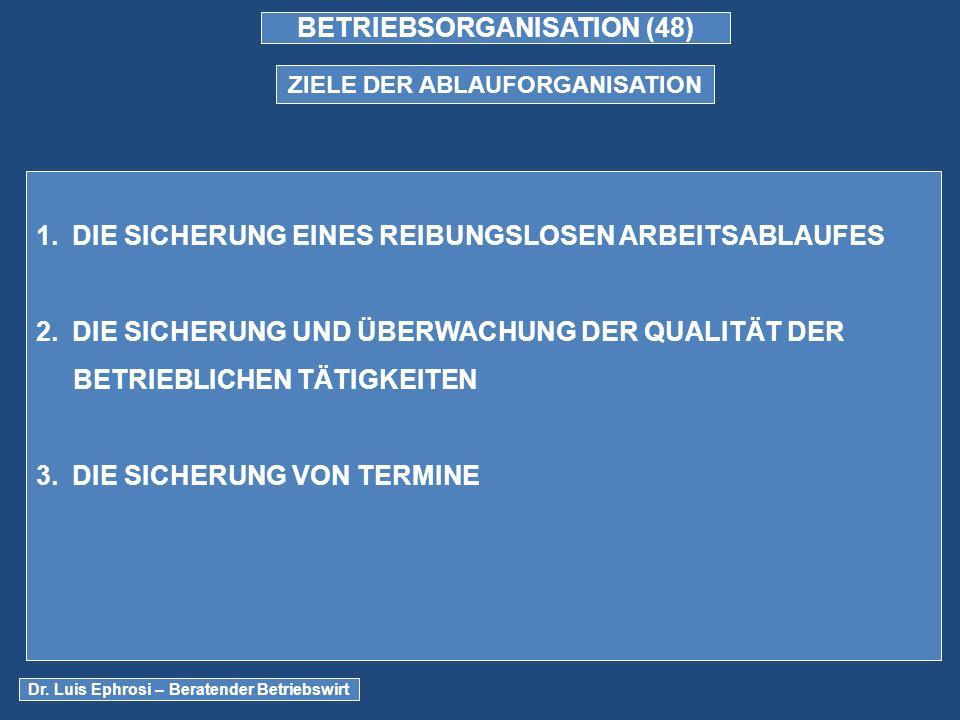 BETRIEBSORGANISATION (48) ZIELE DER ABLAUFORGANISATION