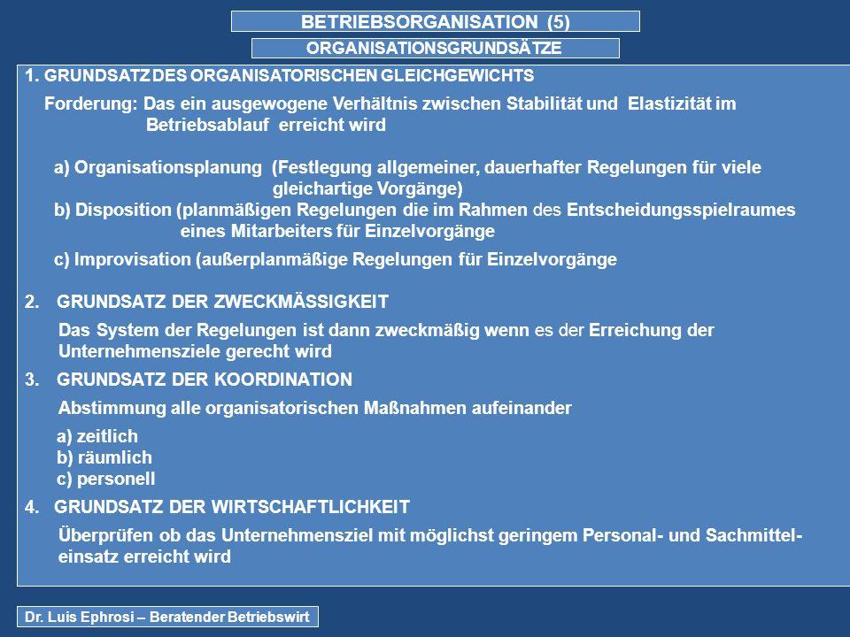 BETRIEBSORGANISATION (5) ORGANISATIONSGRUNDSÄTZE