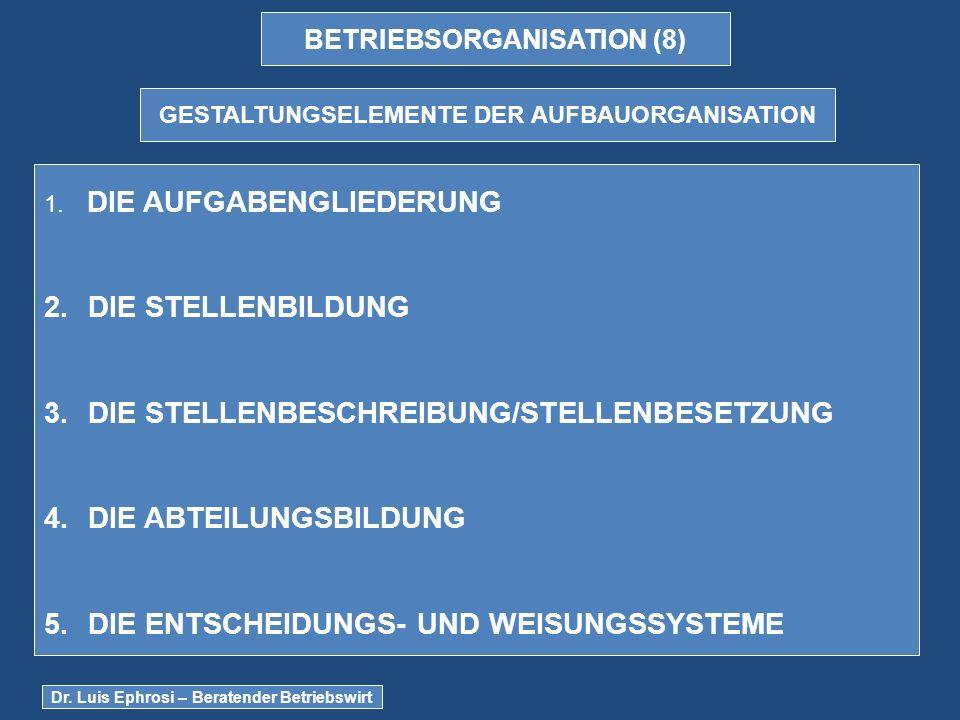 BETRIEBSORGANISATION (8) GESTALTUNGSELEMENTE DER AUFBAUORGANISATION