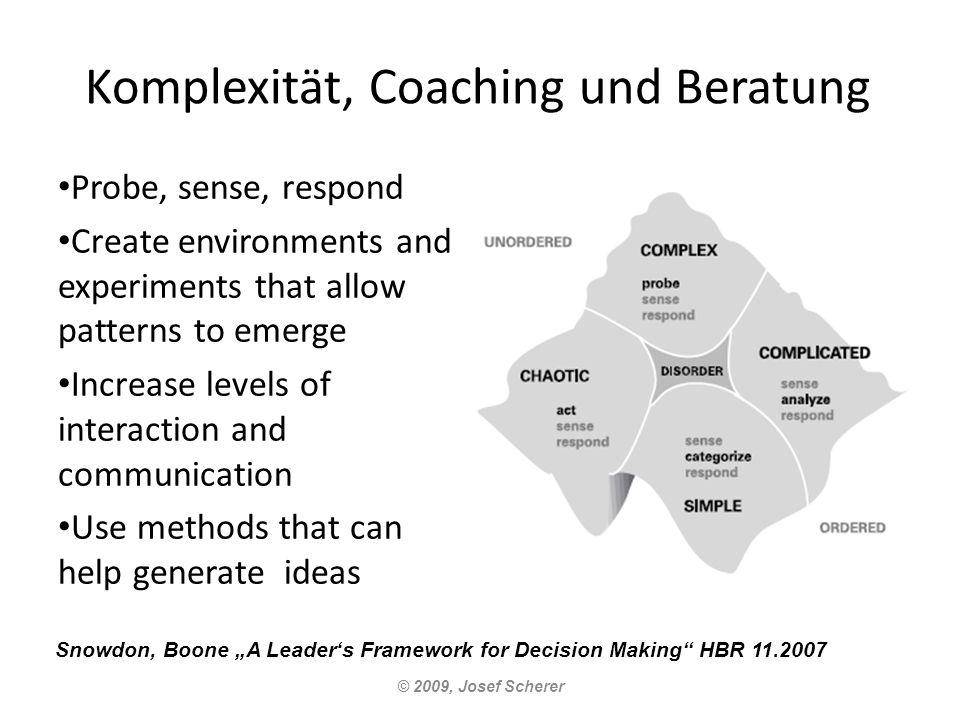 Komplexität, Coaching und Beratung