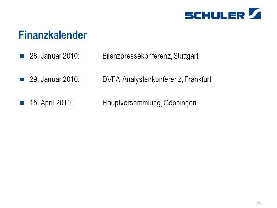 Finanzkalender 28. Januar 2010: Bilanzpressekonferenz, Stuttgart