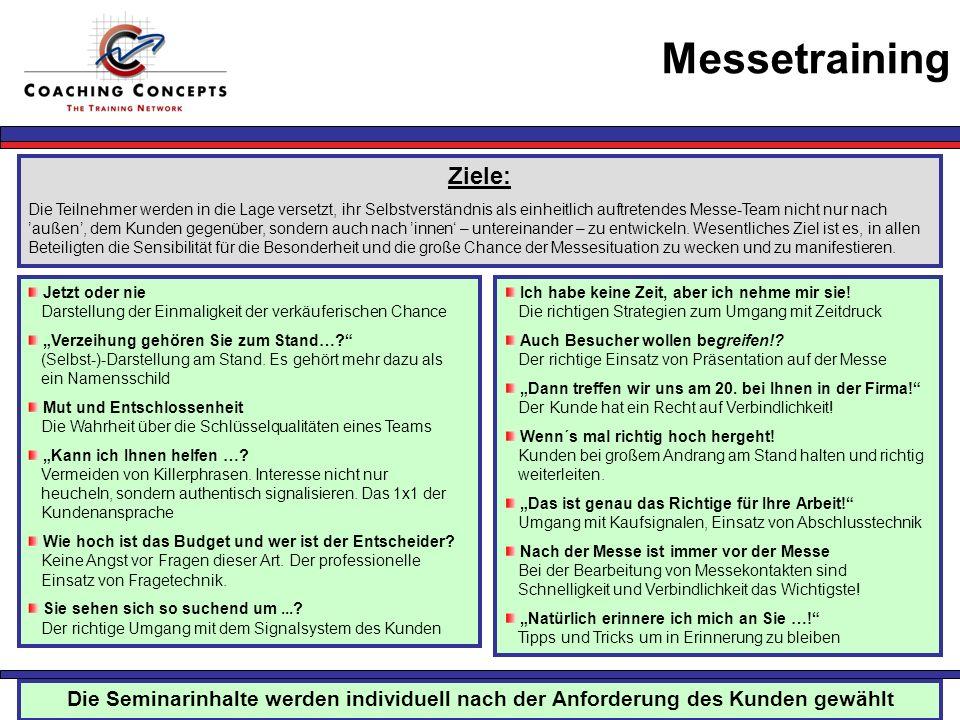 Messetraining Ziele: