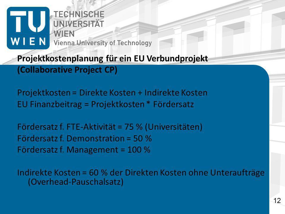 Projektkostenplanung für ein EU Verbundprojekt